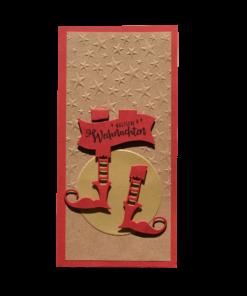 Weihnachtsstiefel in Kartenform, Handarbeit aus Schweizer Sozialwerkstatt