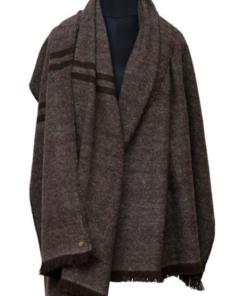 Schal (grau mit braunen Streifen), zu 100% aus Yakwolle